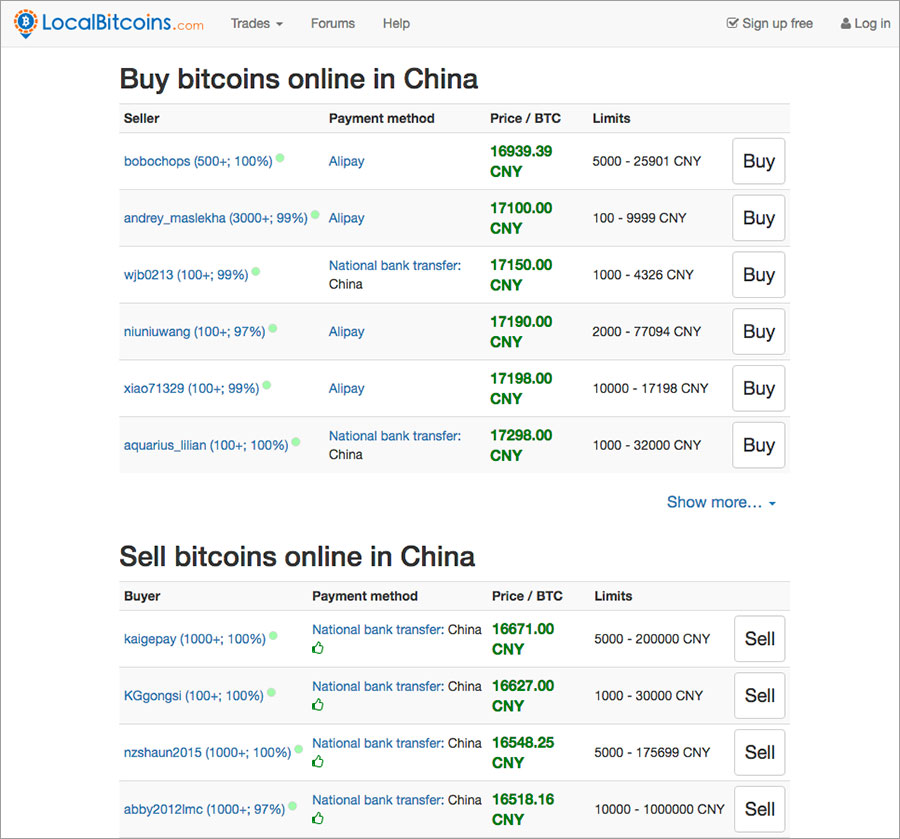 How to buy bitcoins in China: LocalBitcoins.com